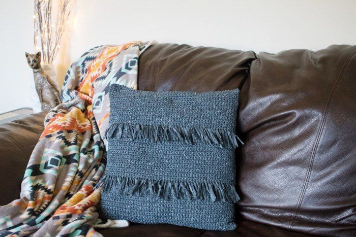 Crochet throw pillow