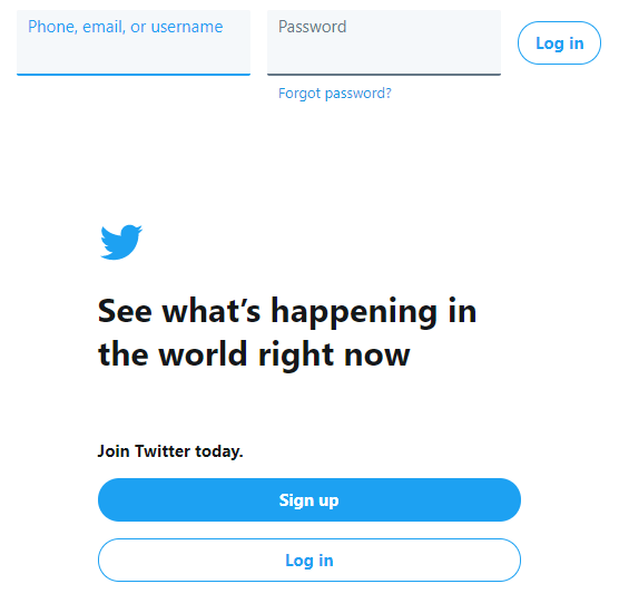 Twitter user account login page