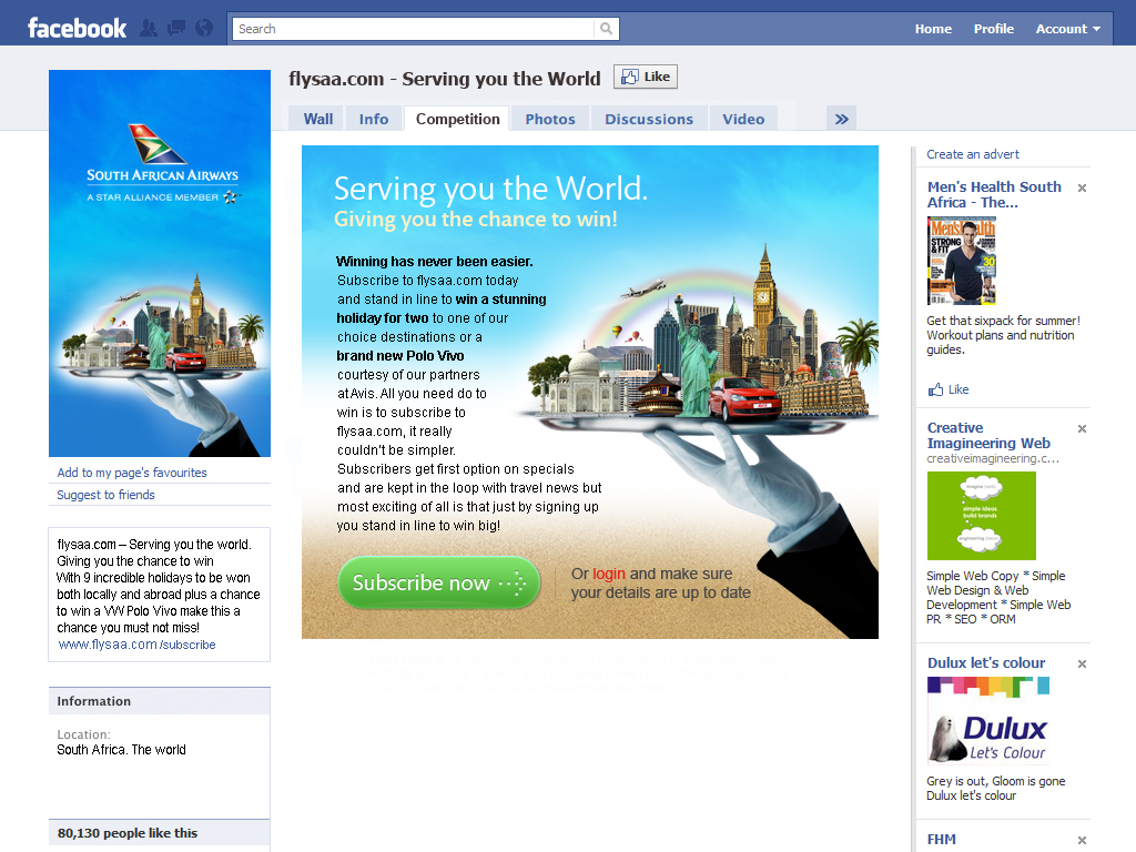 South African Airways - Serving You The World Facebook
