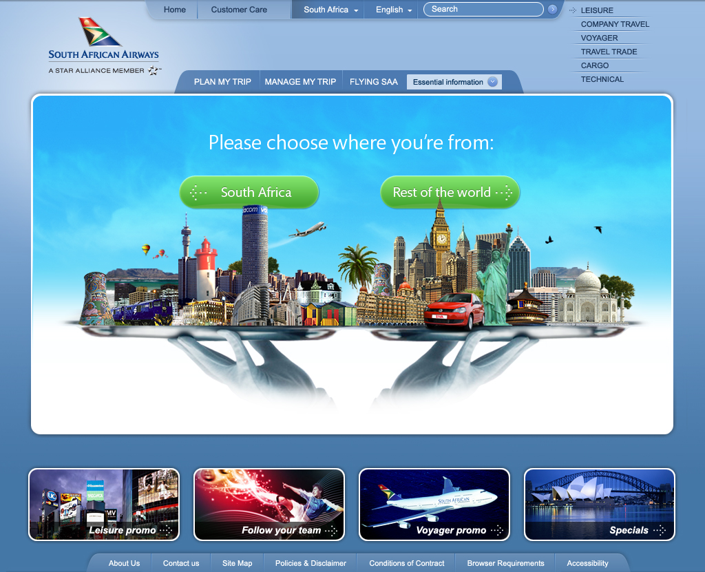 South African Airways - Serving You The World Local or International Entry