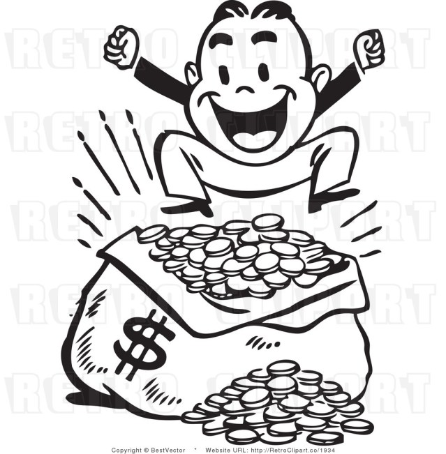 clipart-money-royalty-free-vector-clip-art-of-a-happy-retro-man-jumping-up-and-down-over-a-large-sack-of-coins-with-a-money-symbol-black-and-white-by-bestvector-1934