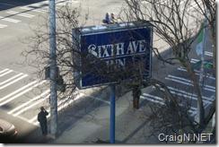 Sixth Avenue Inn sign from my room
