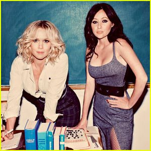 Jennie Garth as Kelly Taylor and Shannen Doherty as Brenda Walsh