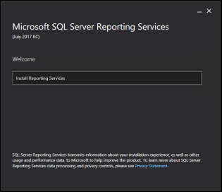 SSRS 2017 Install Page