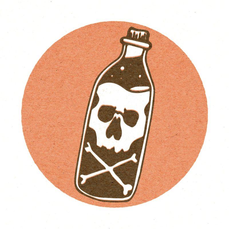 skull bottle illustration