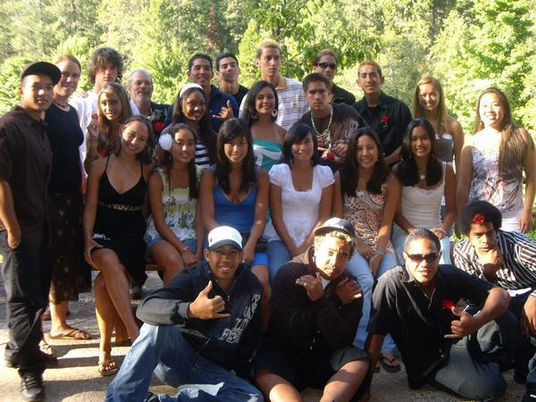 TJ (front middle) at a Younglife camp with Ward (back left) and Kaipo (front right)