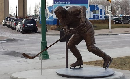 The statue of legendary NHL defenseman Tim Horton is a centerpiece in of Canalside Buffalo, where hockey and ice sports thrive.