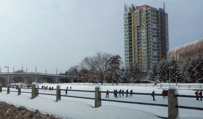 Hearty skaters go for miles on weekday afternoons and weekends on the Rideau Canal in Ottawa.