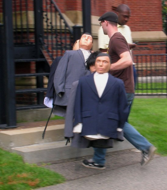 "Dummies answer the call to play their part during filming of ""The Great Debaters"" at Harvard. Craigslegz.com"