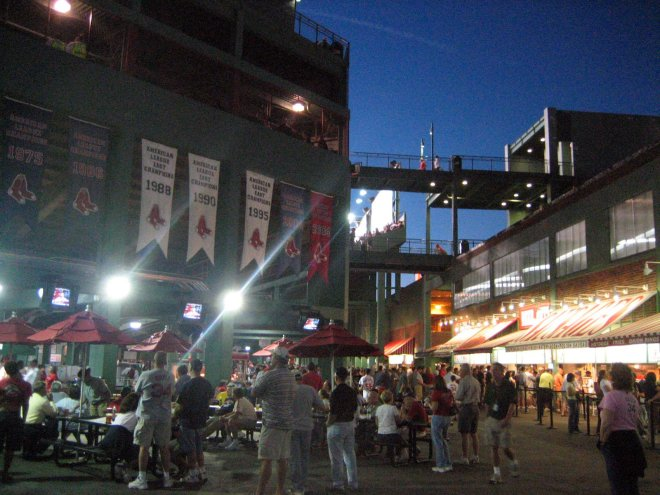 The food court at Fenway Park is busy before and during the game. Craigslegz.com