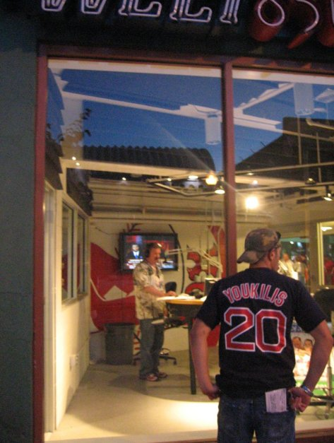 The fan in the Youkilis jersey tries in vain to plead his case to the radio host after getting kicked out of Fenway Park. Craigslegz.com