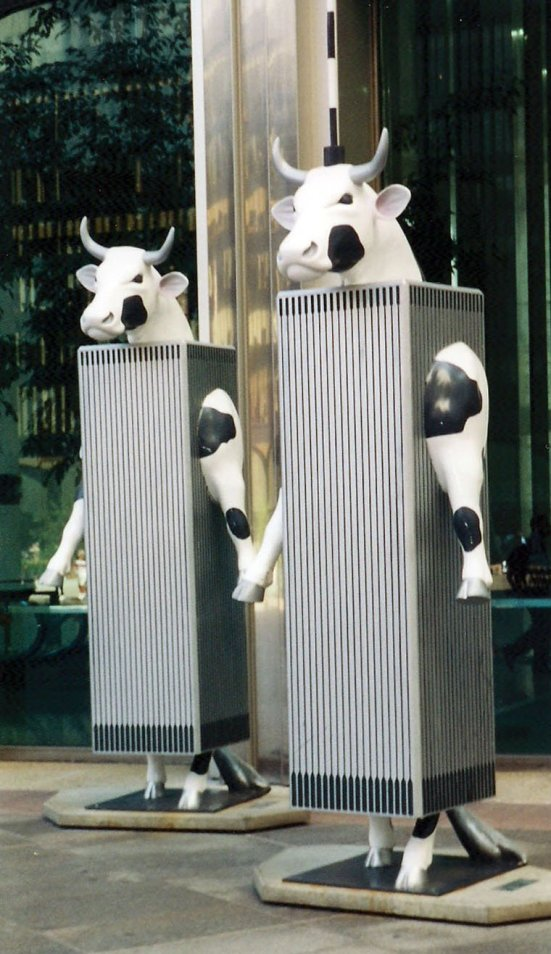 The Twin Cowers were part of the Cow Parade public art exhibit in New York in 2000. Craig Davis/Craigslegz.com