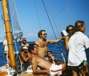 Jimmy Buffett (center, standing) aboard Ticonderoga during the 1980 Fort Lauderdale to key West Race. (Craig Davis/Craigslegztravels.com)