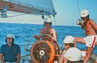 Jimmy Buffett steers Ticonderoga during the 1980 Fort Lauderdale to Key West Race. (Craig Davis/Craigslegztravels.com)