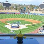 BeBop the Craigslegz Travel Alien overlooking one of Major League Baseball's premier vistas at Dodger Stadium in Los Angeles. (Craig Davis/Craigslegztravels.com)