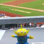 BeBop the Craigslegz Travel Alien made the scene at the first Major League Baseball regular-season game played on a U.S. military base at Fort Bragg, N.C., between the Marlins and Braves in 2016. (Craig Davis/Craigslegztravels.com)