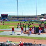 The Cardinals take batting practice during spring training at Roger Dean Stadium in Jupiter. (Craig Davis/Craigslegztravels.com)