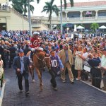 Gun Runner returns from paddock prior to winning the 2018 Pegasus World Cup at Gulfstream Park. (Craig Davis/Craigslegztravels.com)