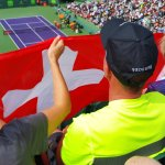 Tennis display the Swiss colors during one of countryman Roger Federer's matches in the 2017 Miami Open at Key Biscayne. (Craig Davis/Craigslegztravels.com)