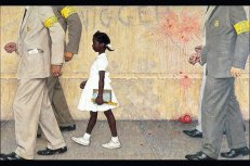 """The Problem We All Live With"" depicts a famous incident in the desegregation of a public school in New Orleans."
