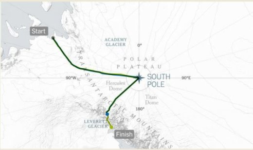 Colin O'Brady's trek across Antarctica took 54 days and covered 930 miles.