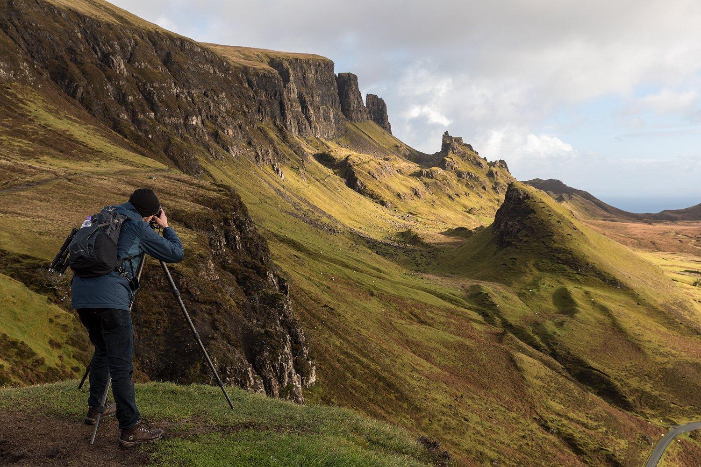 Glenn Davis lines up a photo at the Quiraing on the Isle of Skye. (glenndavisphotography.com)