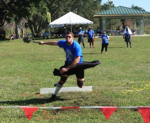 Competitors spin to gain momentum to throw the 56-pound weight in the Highland Games. (Craig Davis/Craigslegztravels.com)