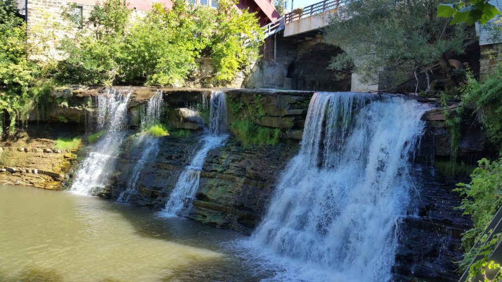 The larger of the two waterfalls in Chagrin Falls is a popular spot for tourists and day-trippers in Northeast Ohio. (Craig Davis/Craigslegztravels.com)