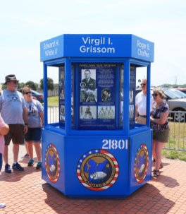 Kiosk at launch complex 34 contains memories of astronauts Gus Grissom, Ed White and Roger Chaffee who died in the Apollo 1 fire. (Craig Davis/Craigslegztravels.com)