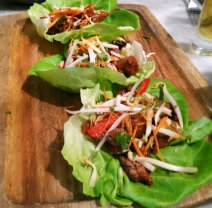 Korean BBQ steak in a lettuce wrap is among the medium plates at Avocado Grill in West Palm Beach. (Craigslegztravels.com)