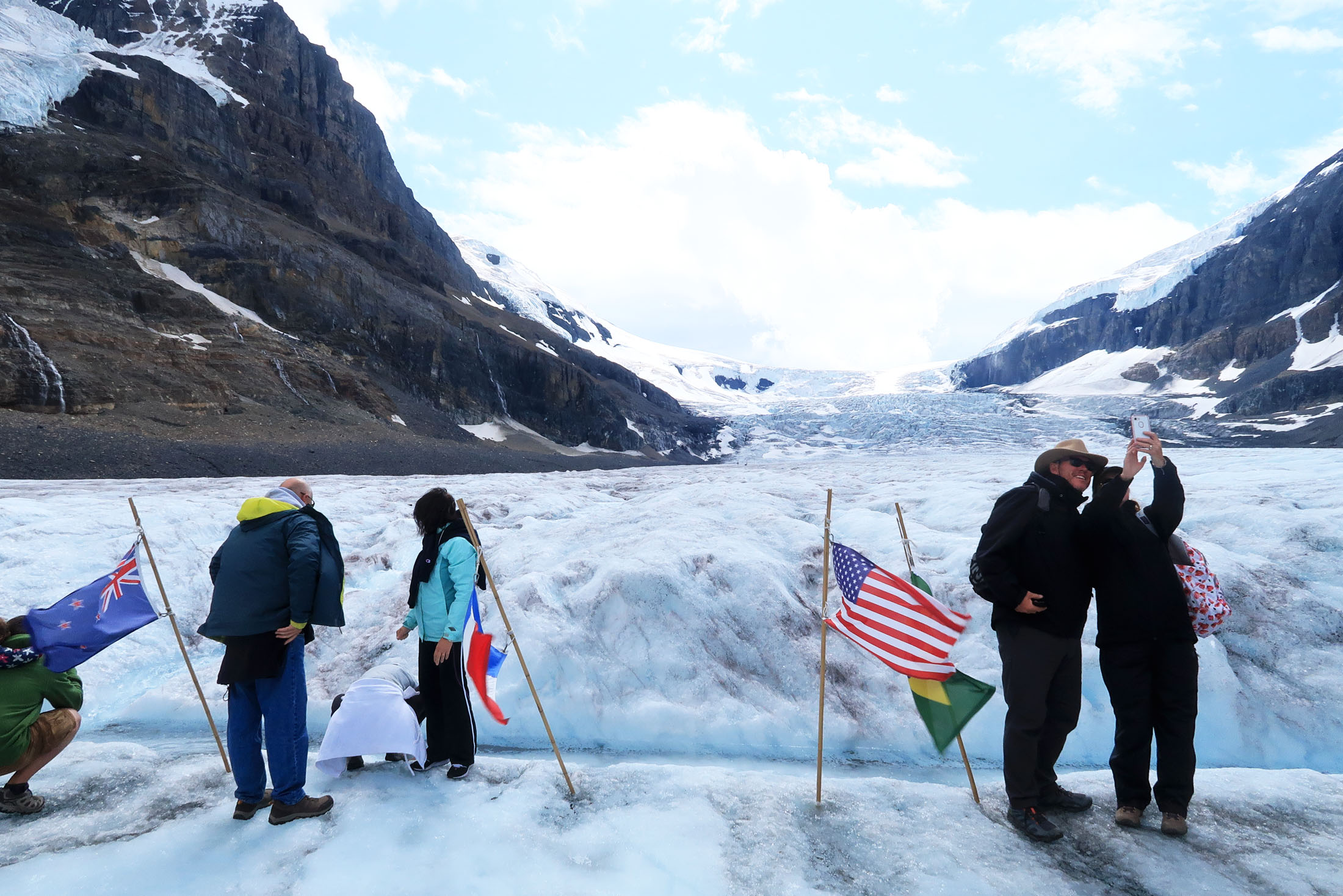 More than 800,000 travelers from many countries visit the Athabasca Glacier each summer on the Columbia Icefield Adventure. (Craig Davis/craigslegztravels.com)