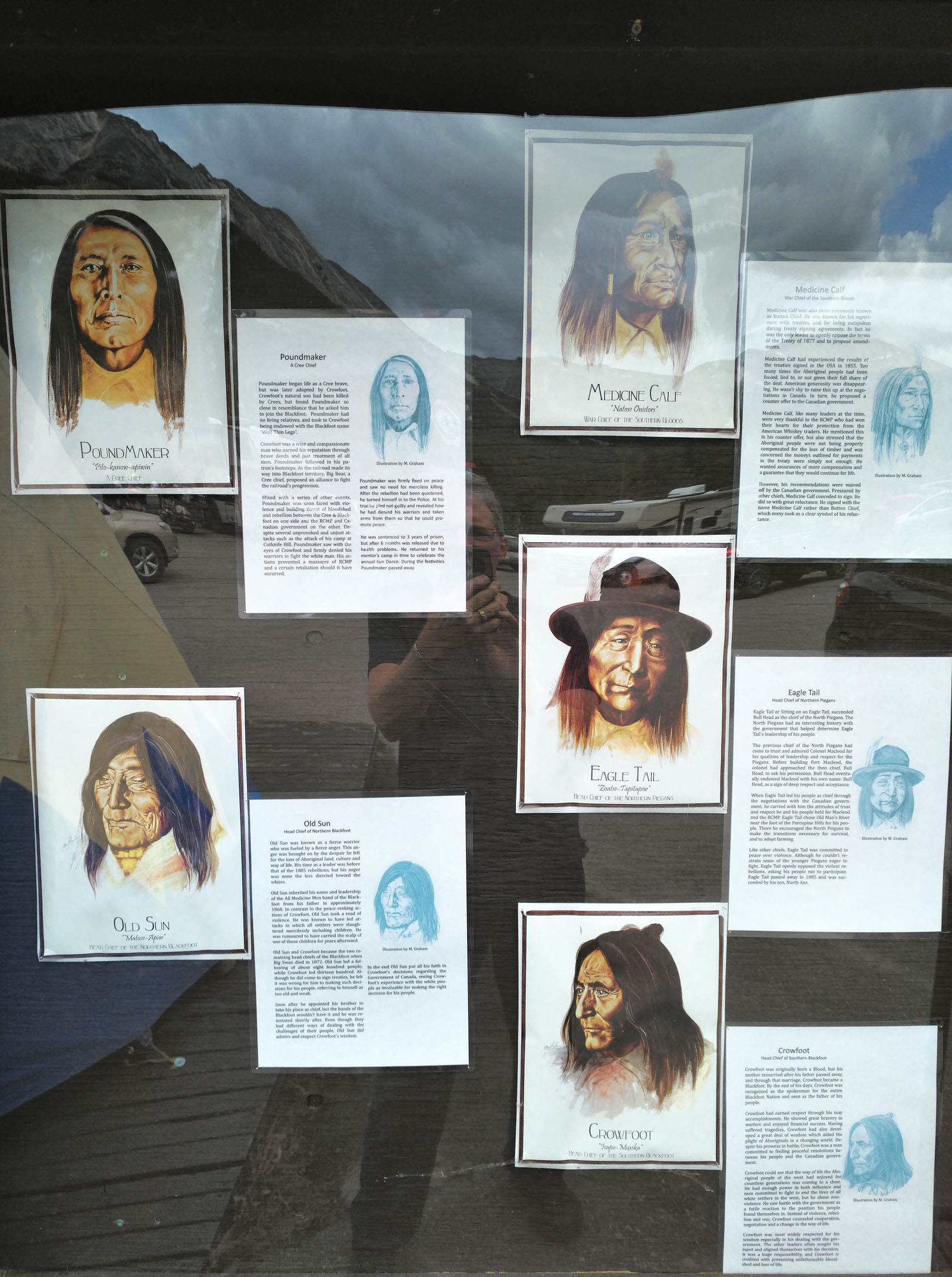 Portraits and biographies of prominent Aboriginal chiefs from the 1800s on display outside the Sunwapta Falls Rocky Mountain Lodge tell a painful story of history in the region. (Craig Davis/craigslegztravels.com)