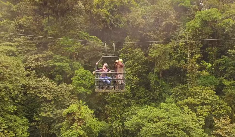 The Dragonfly gondola takes guests of Mashpi Lodge nearly a mile through the treetops in the cloud forest.