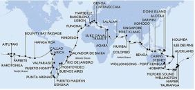 The intended route of the MSC world cruise was followed only to Sydney, Australia.