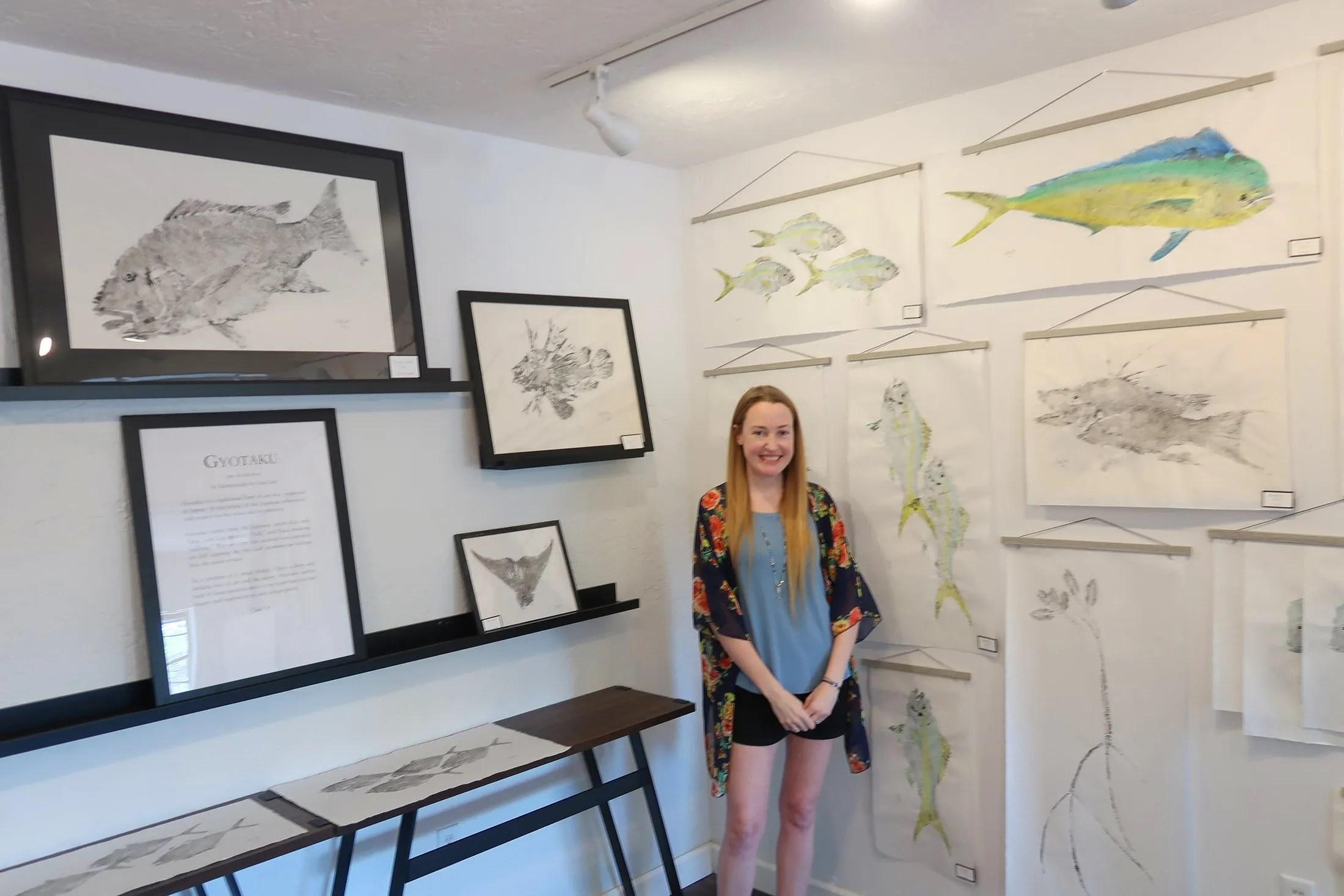 Lisa Lee creates and sells Gyotaku prints in her Gallery of the Arts studio in Tavernier, Fla. (Craig Davis/Craigslegztravels.com)