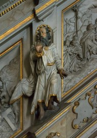 Carvings on the stair to the pulpit