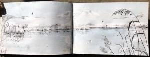 The 'Agmon' lake and Mt Hermon at dawn