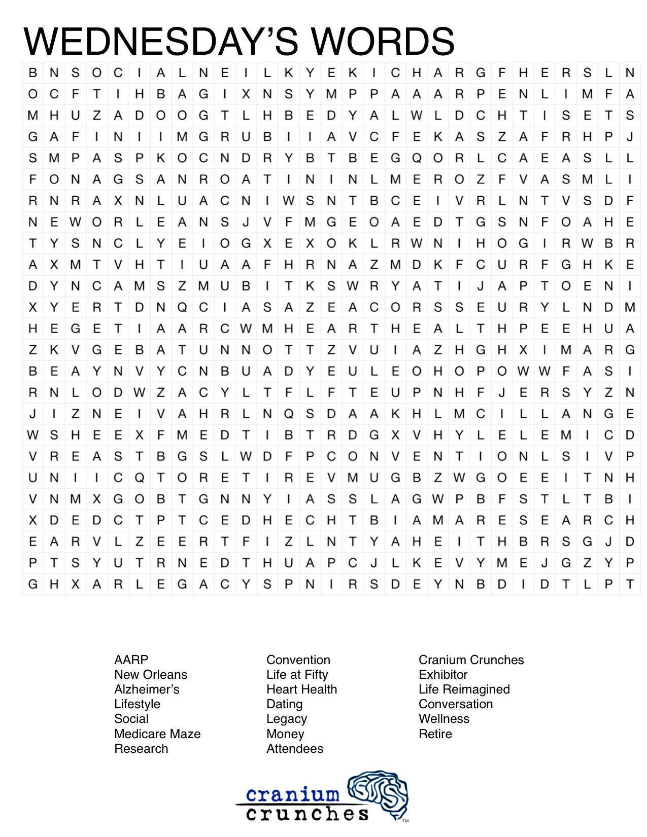 Aarp Life 50 Word Search
