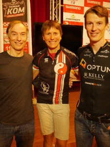 Tony Routley and his son with Marg Fedyna, also of Canada,  winner of the 2014 and 2013 Haute Route Pyrenees.