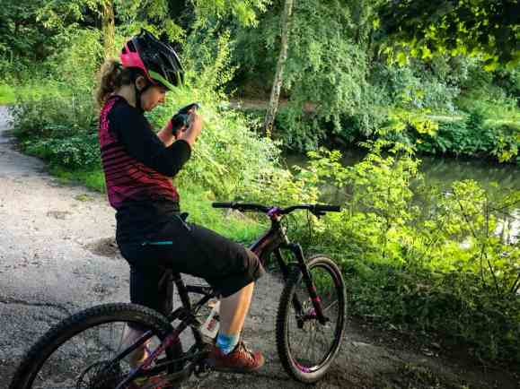 Mountain biker taking a photo