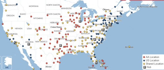 American US Airways Route Map