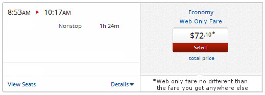 Web Only Fare