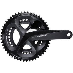 Shimano CrankSet, FC-R7000, 105, for Rear 11-Speed, HollowTECH 2, 170MM, 52-36T w/o Chain Guard, w/o BB, Black