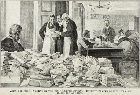Vintage engraving of a dead letter office where postal officials struggle to decipher addressing information; captioned 'Who is it for? A scene in the dead letter office experts trying to decipher an illegible address'.