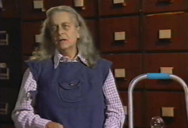 Screengrab of Judith Merril introducing Doctor Who on TVOntario, in the 1970s.
