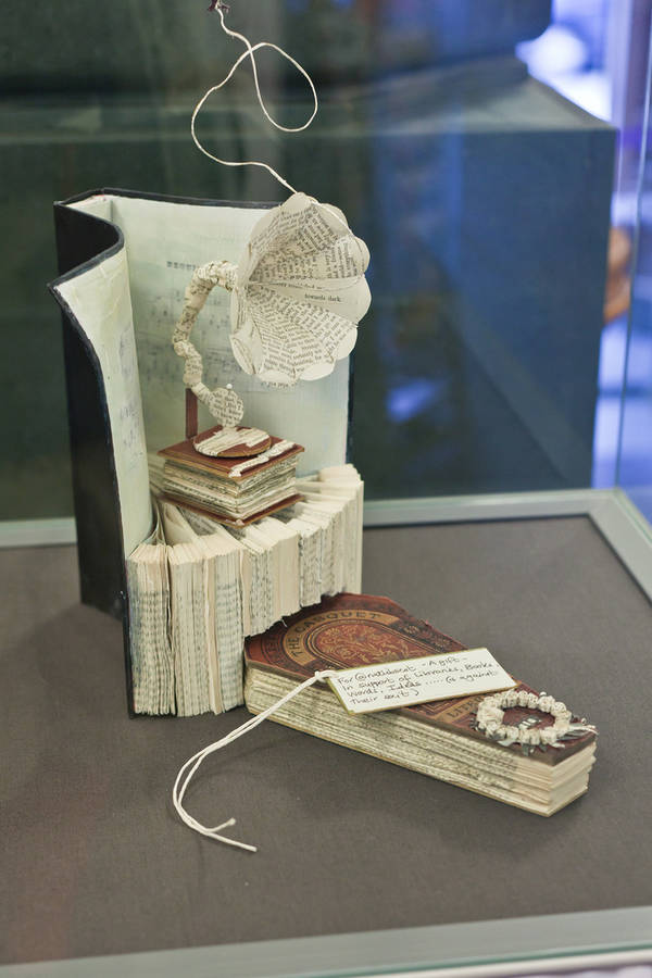 coffin gramophone sculpture in scottish library