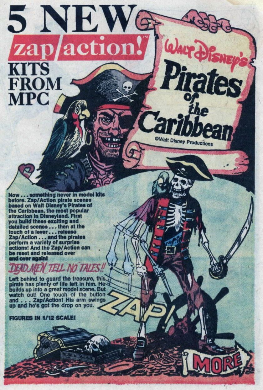 Vintage comic-book ad for Pirates of the Caribbean MPC Zap/Action model kits.