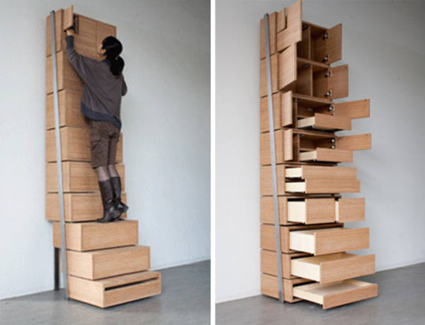 Staircase Shelving staircase storage: vertical shelving unit is its own stepladder