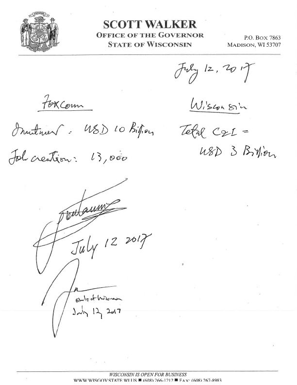 A handwritten 2017 memo commemorating the Foxconn deal, on then-Wisconsin governor Scott Walker's letterhead, listing the job creation at 13,000, the investment at $10b, and the cost to the state of Wisconsin at $3b.