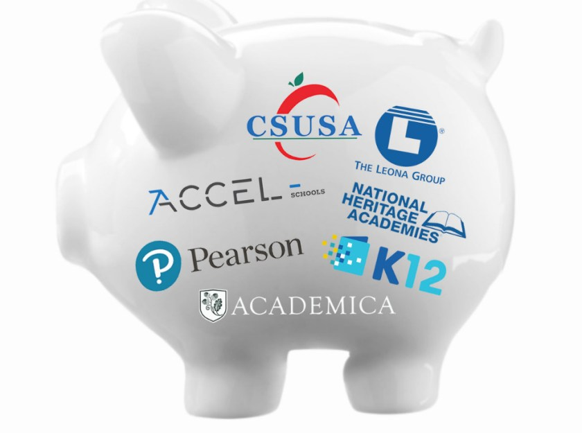 A piggybank covered with the logos of skeezy charter school chains.